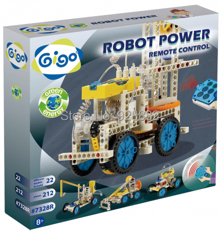 Gigo #7328R Science Toys 212PCS 22 models environmental material Green Energy Building block toys RC Robot Power Crane/Bulldozer(China (Mainland))