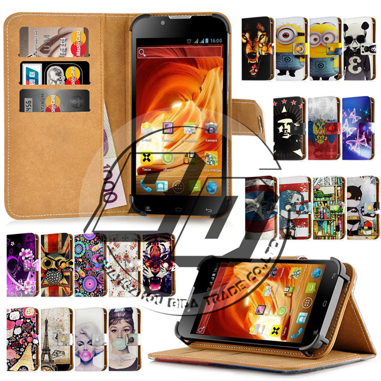 """Fly IQ441 Radiance Case 4.3"""" Universal Fashion Print Card Holder Stand Wallet Leather Cover Bag Protection Fly IQ 441 IQ441+Gift(China (Mainland))"""