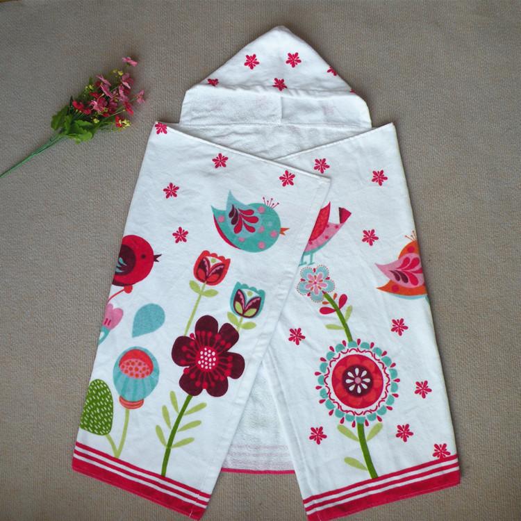 brand Children's cloak bath towel baby Cotton micro fiber Hooded Towel cartoon beach towel floral cute baby blanket(China (Mainland))