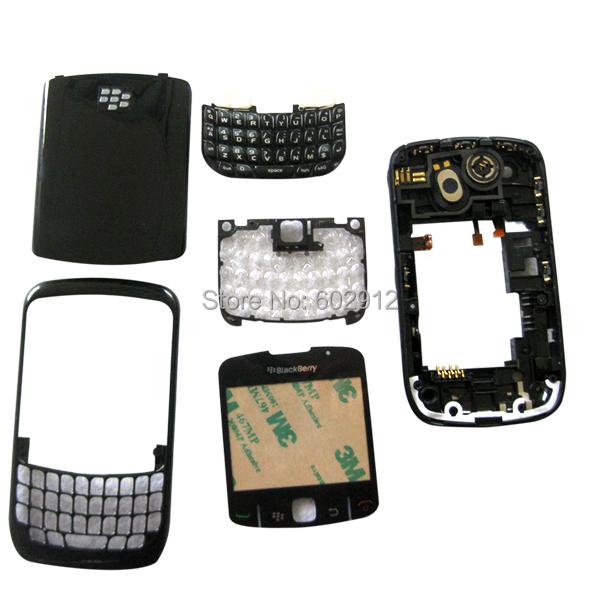 Free Shipping Black Full Housing Keypad Lens Cover Case for BlackBerry Curve 8520