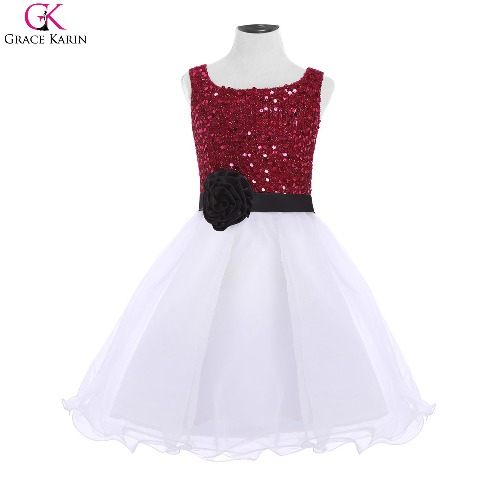 Formal Kids Little Girls Evening Gowns Pageant Sequin Glitter Grace Karin Burgundy White Flower Girl Dress For Wedding CL008934(China (Mainland))