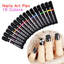 16 Colors Nail Art Pen for 3D Nail Art DIY Decoration Nail Polish Pen Set 3D Design Nail Beauty Tools Paint Pens(China (Mainland))