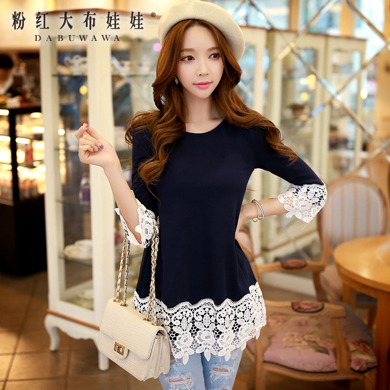 Long sleeved T-shirt Girl Pink Doll spring 2016 dress new all-match applique lace shirt