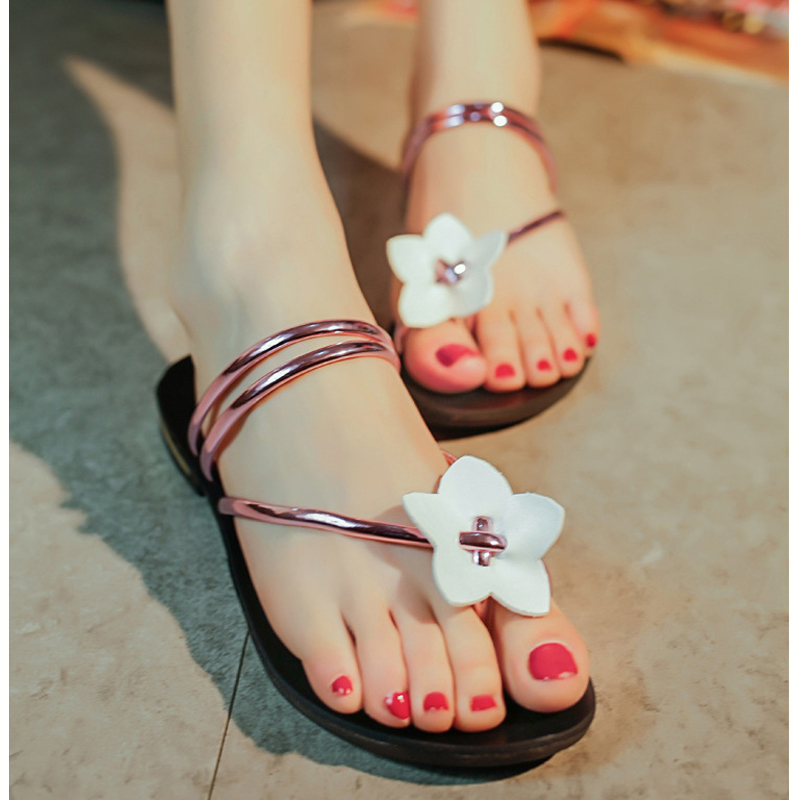 2016 new flat sandals women slippers Bohemia Beach Sandals girl Flip Flops Sweet Style Flowers Beautiful Flower Sweet DL2031<br><br>Aliexpress