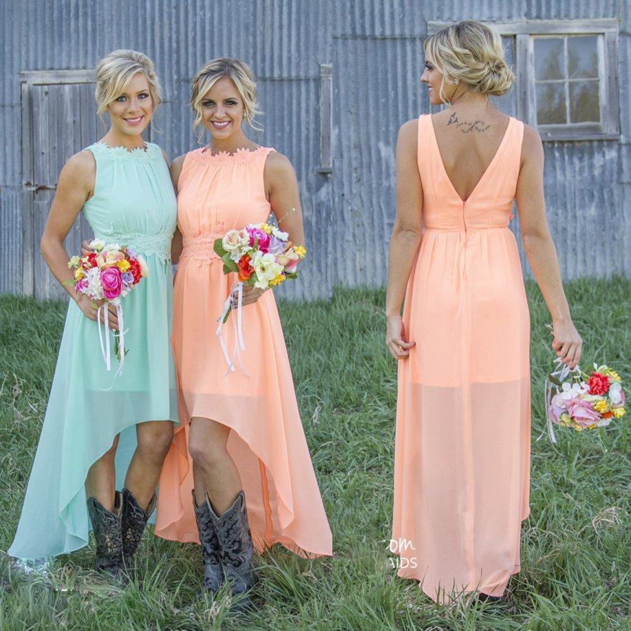 Light Orange Wedding Bridesmaids Dresses