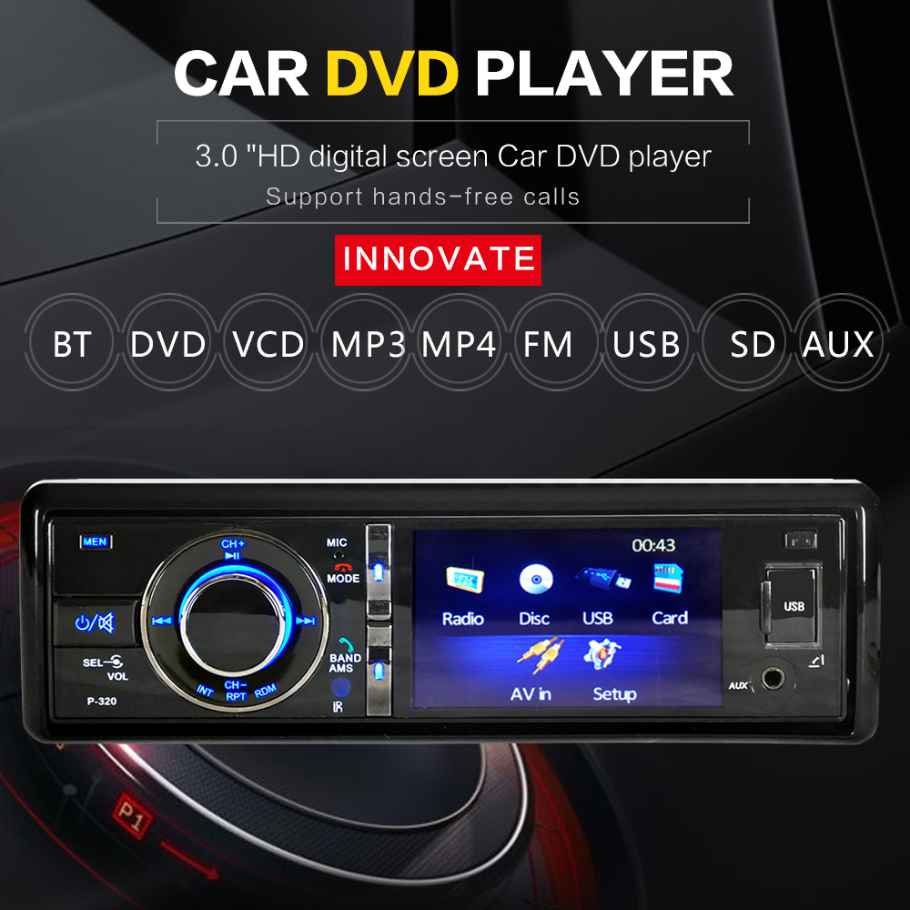 "3"" Single 1 Din Car DVD Player Radio Stereo Detachable Panel Video Bluetooth Subwoofer AUX Camera In CD MP5 Audio(China (Mainland))"