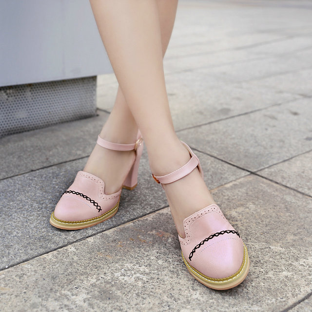 2015 New Pastoral style spring summer square high-heel pointed toe ankle strap ladies wedding shoes