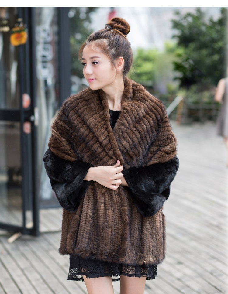 2017 Winter Women Genuine Knitted natural Mink Fur Shawls Wrap cape for female Weeding party Chinese factory whole Free Ship