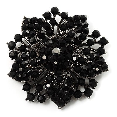 2.2 Inch Vintage Style Black Rhinestone Crystal Diamante Starfish Party Brooch - Yiwu Liangqian Accessories Firm (Mini Order>$8 store)