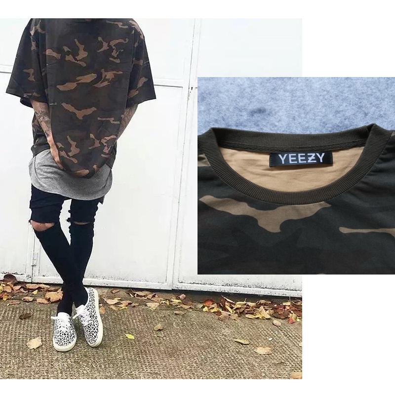 Oversized YEEZY T Shirt homme Kanye WEST style Yeezy Senson1 t-shirt hip hop camouflage t shirt streetwear fashion mens t shirts(China (Mainland))