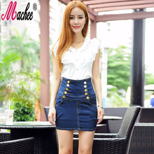 Buy 2017 Summer Style Women Mini Skirts High Waist Sexy Women Pockets Blue Double Breasted Button Denim A-Line Short Jeans Skirt for $17.33 in AliExpress store