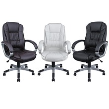 Black Brown White PU Leather Modern Executive Computer Desk& Office Task Chair(China (Mainland))