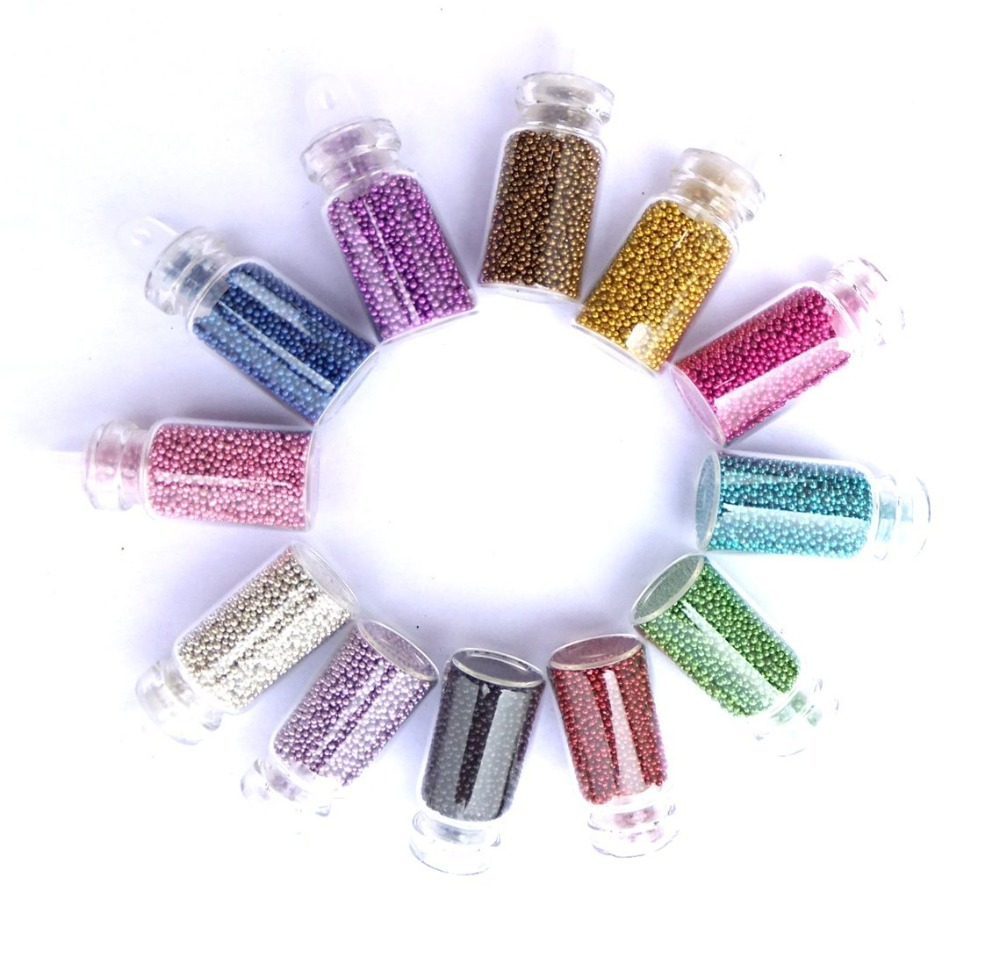 20 Set/ Lot 12 Color Tiny Circle Bead Nail Art Decorations 3D Nail Tips Decorations Caviar Nail Art Bottle Set D0057X