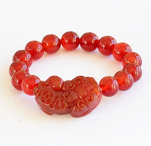 Red Agate Stones Yao Charm Jade Bracelets Meaning Chinese Pixiu Good Lucky Carved