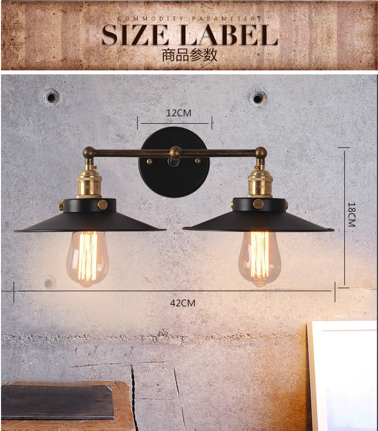 vintage industrial lighting Loft style lamp lampshade Restaurant Bar office wall Light home decoration luminaire luminarias
