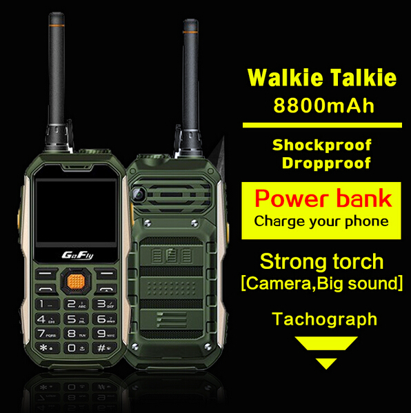 Russian Portuguese,Arabic Spanish 8800mAh Dual SIM Card Walkie Talkie Tachograph power bank Rugged shockproof mobile phone P295(China (Mainland))