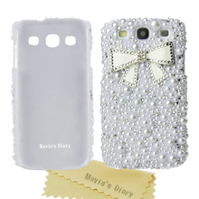 Rhinestone case for samsung s3 Pearl back cover Crystal Bling Diamond bowknot Hard Case for Samsung Galaxy S3 i9300(China (Mainland))