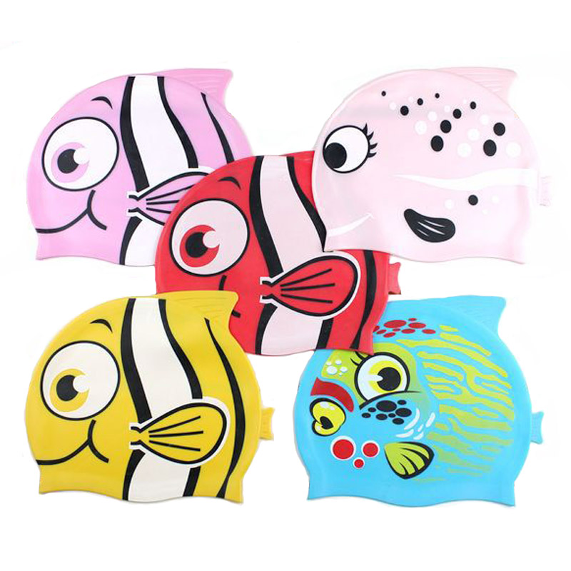 2016 Kids Cartoon Swimming Cap Silicone Cute Animal Print Bathing Hat Head Cover Hat Protect Ears Accessories(China (Mainland))