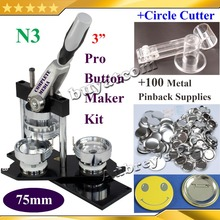 "NEW Professional N3 3"" 75mm Badge Button Maker Machine +Adjustable Circle Cutter+100 Set Metal Pinback Button Supply(China (Mainland))"
