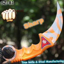 MUKASZ CS GO Counter Strike Golden Karambit Knife Neck Knife with Sheath Slaughter Real game Knife Factory Wholesale Claw SZ-B1(China (Mainland))