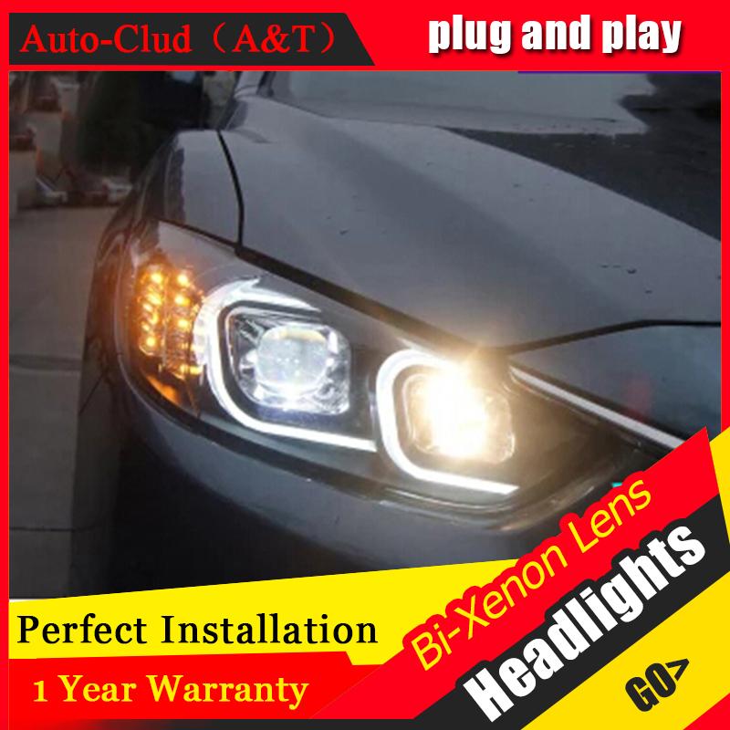Auto Clud headlights For Mazda 6 Atenza 2014-15 LED light bar DRL D2H xenon mazda 6 headlamps Q5 bi xenon len parking car stylin(China (Mainland))