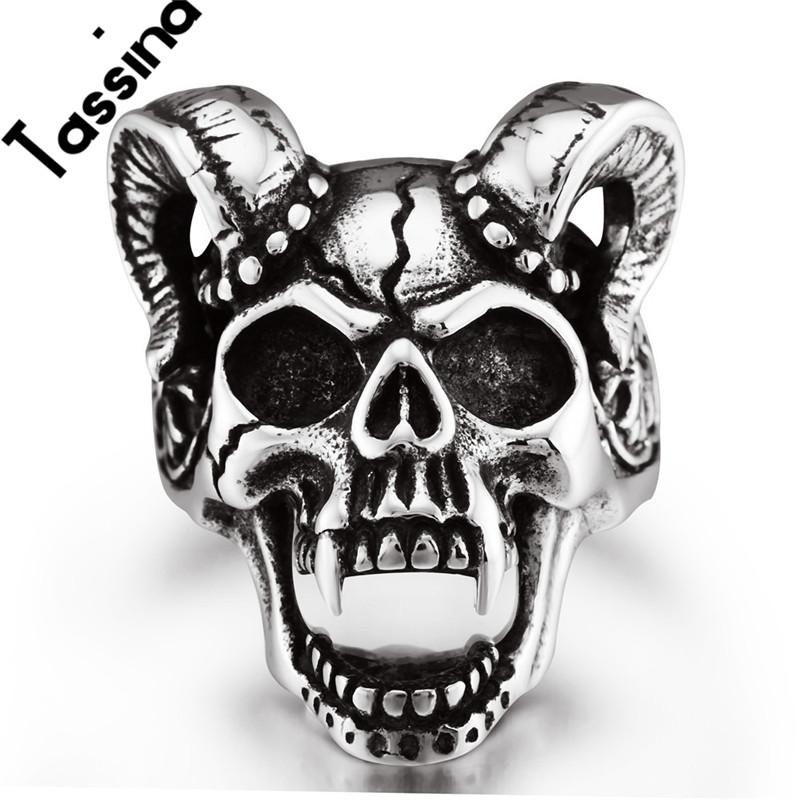 Tassina High Quality Black 316L Skull Head Stainless Steel Biker Ring Men's Punk Claw Skeleton Rings Fashion Jewelry JMR-106(China (Mainland))