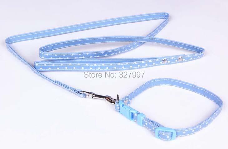 Polka Dot PU Leather Dog Leashes lead 3 Colors Blue/Pink/Purple free shipping(China (Mainland))