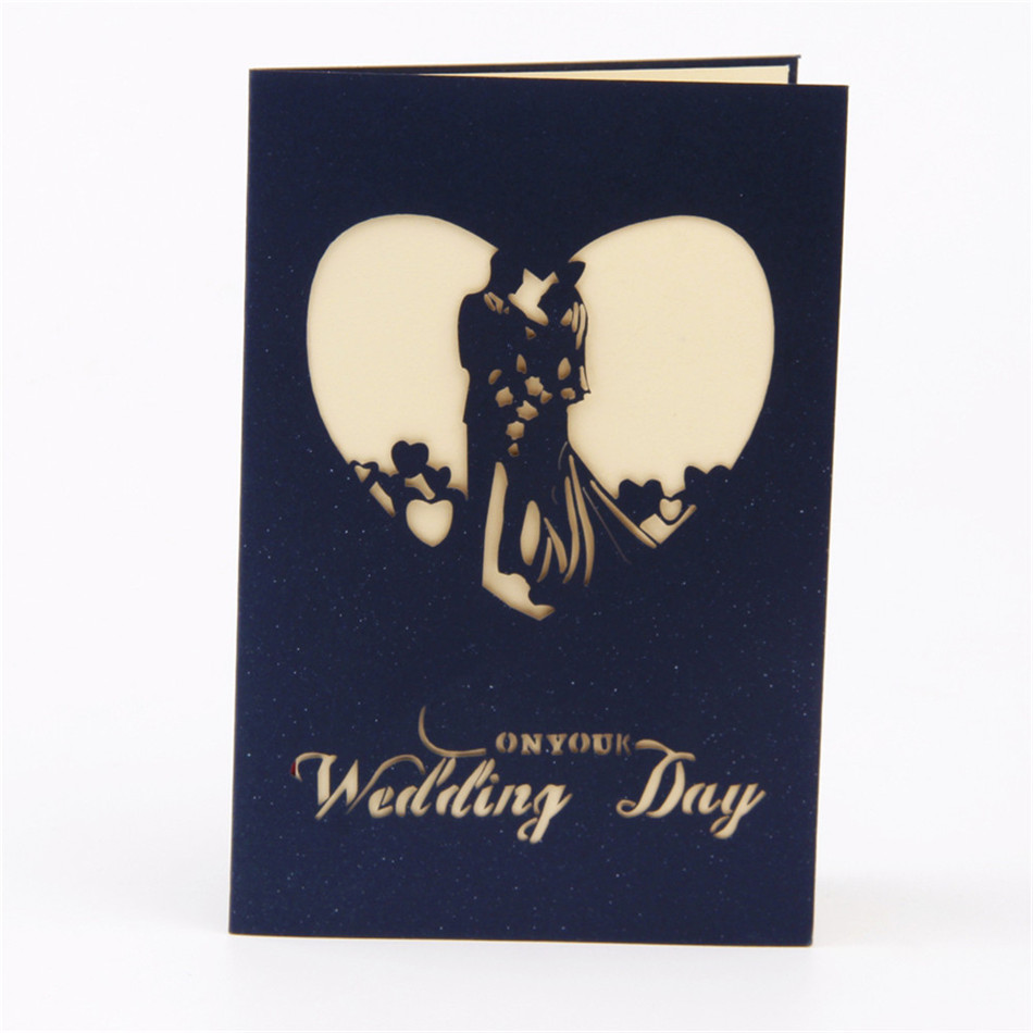 Sweety wedding invitation 3D laser cut paper cutting Greeting Pop Up Kirigami Card Custom postcards Wishes