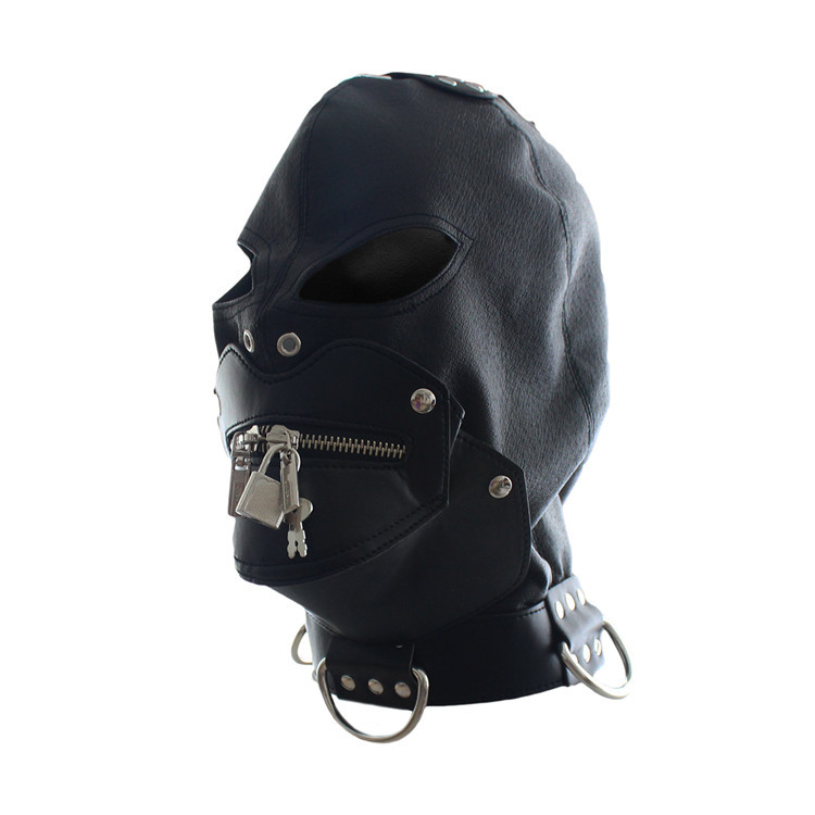 Sexy Toys Adult Cap Faux Leather Mask Slave Open Mouth Passion Sex Products Bondage Head Hood(China (Mainland))