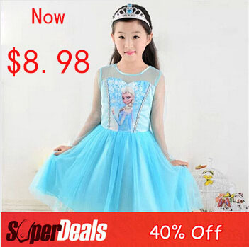 2015 Elsa Dress Long Sleeve Lace Tutus Yarn Girls Dresses Fashion Cosplay Party Princess Kids Clothes Wear Children - SNOW LOVE store
