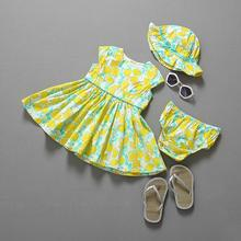 2015  baby clothing summer style baby girl clothes dress+ underpants+ high quality hat baby girl clothes bay 2015  set pcs/set (China (Mainland))