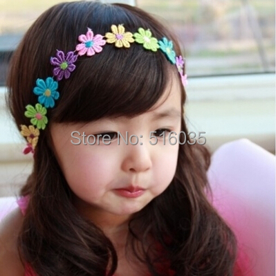 New Fashion flower headbands for girl baby head bands hair accessories for children 4colors can be choosed free shipping(China (Mainland))