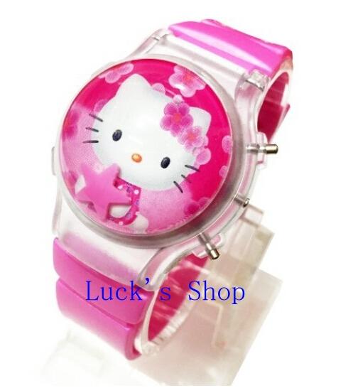 Free Shipping 10 pcs Hello Kitty Electronic Watch Jelly Flip Flash Cartoon Watch Kids Watches For Gifts DZ104(China (Mainland))