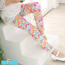 2016 Baby Girls Leggings Kids Pants 2-13 Years Kids Print Flower Spring And Summer leggings Children's Clothing Girl Pants