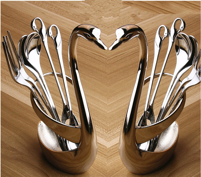 Cygnus cutlery high-grade zinc alloy frame / stainless steel fruit fork / coffee spoon / Home Decoration / Tableware Set(China (Mainland))