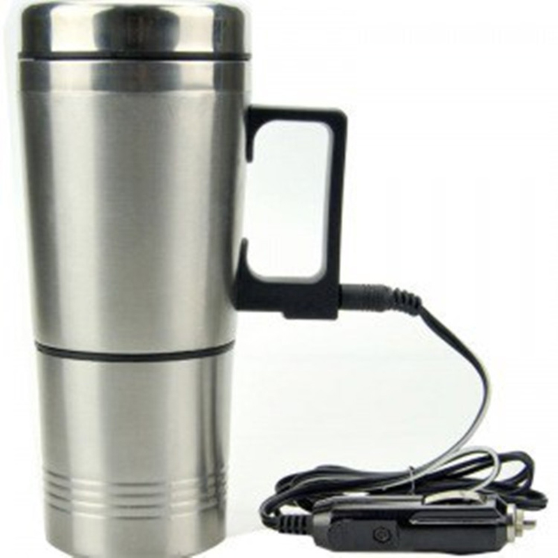 Гаджет  New 12V 300ml Silver Stainless Steel Car Heating Cup Electric Mug Thermos Type Heating Hot Drink Electric Kettles Auto Supplies None Бытовая техника