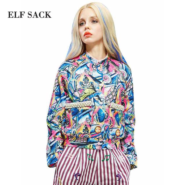 Elf SACK мода новое прибытия 2016 осенние женщин маслом печать свободно бисером коротким ...