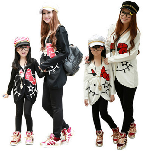 2015 family look Jacket Coat hello kitty Clothes Parentage Clothes Mother and Daughter,Family set(China (Mainland))