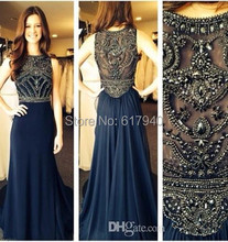 robe de soiree evening dresses 2015 New Sleeveless Scoop Neck Dark Blue Chiffon Crystals Long Prom Dresses Formal Evening Gowns(China (Mainland))