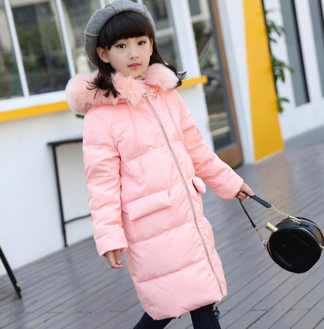 Россия Дети пуховик девушки длинные утка вниз пальто дети 2016 зимние детские теплые парки и пиджаки дети ребенок куртка пальто