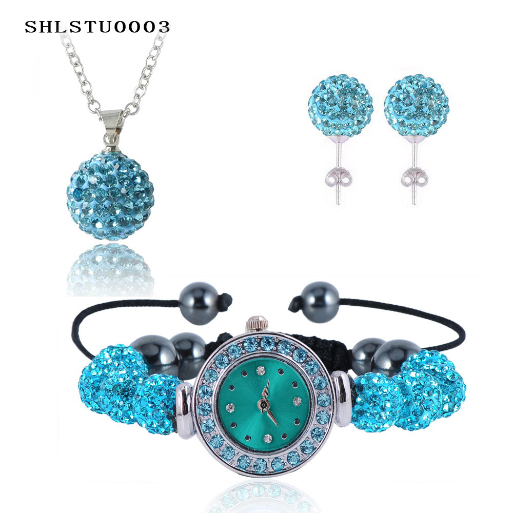 New 10mm Balls Watch Shamballa Set Crystal Earrings/Necklace Pendant/Bracelet Jewelry Sets Mix Colors Options aretes SHLSTUmix1(China (Mainland))