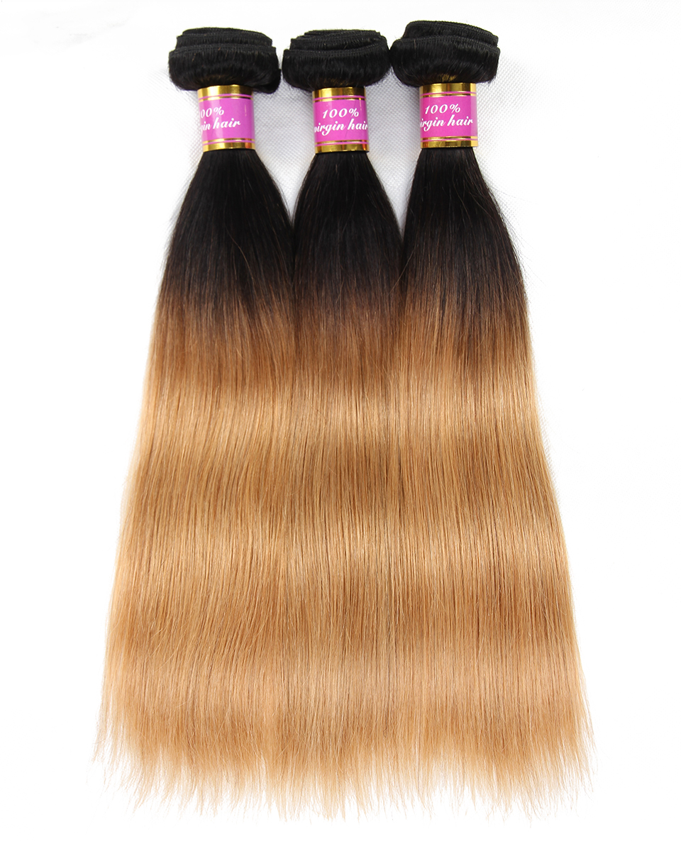 Today Only Ombre Brazilian Straight Hair Weave Bundles Non-remy Human Hair Extensions Two Tone Blonde Hair 1b 27 Free Shipping
