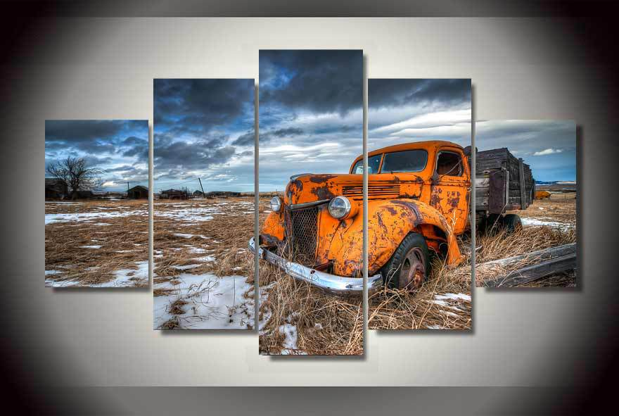 Framed Printed truck orange snow Painting on canvas room decoration print poster picture canvas Free shipping/ha2158(China (Mainland))
