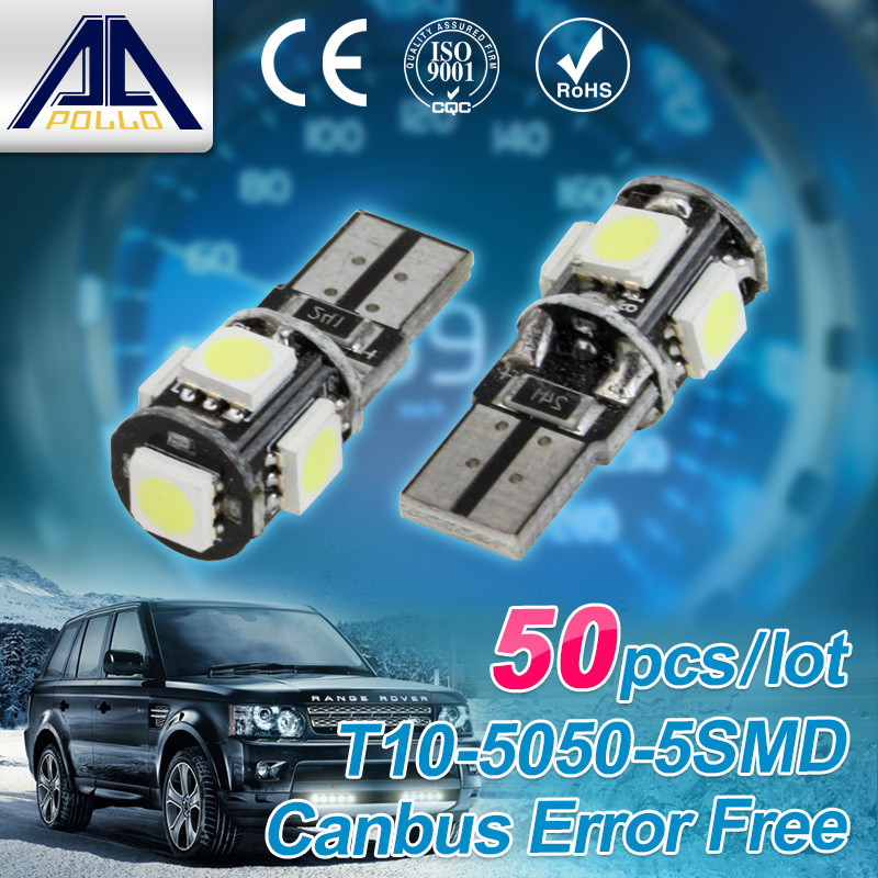 Free shipping 50pcs Canbus T10 5smd 5050 LED car Light NO OBC W5W 194 5 SMD Error Free working source super White Light Bulbs(China (Mainland))