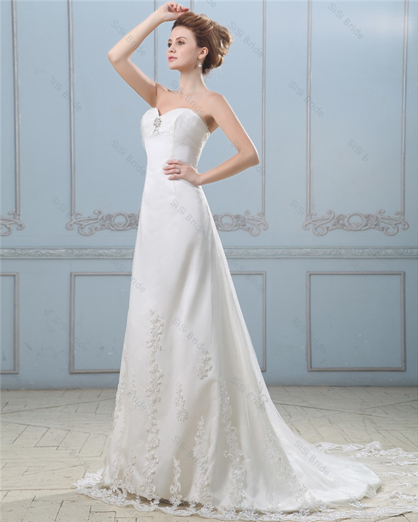 A-Line Dresses for cheap -Free Shipping Stylish A-line Sweetheart With Beading Crystal Lace Bridal Wear Sheath Wedding Dresses(China (Mainland))