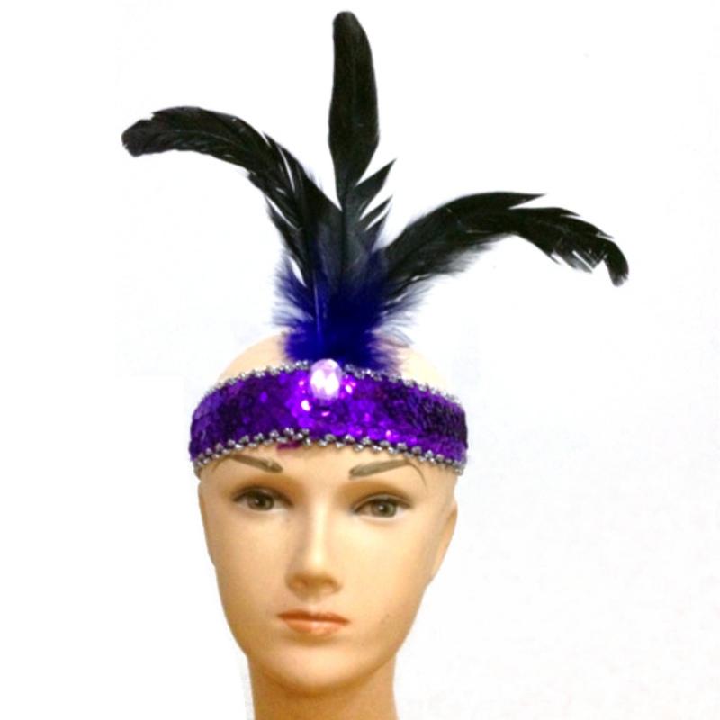 2016 Fancy Dress Flapper Sequins Headband Feather 1930\'s 1920\'s Charleston Headdress Hot(China (Mainland))
