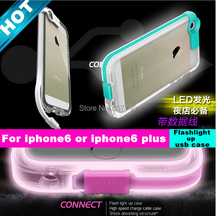 High speed Calling Sense LED Flash Light Mobile Case iphone 6/6plus Connect Charge USB Cable - Laptop Factory store