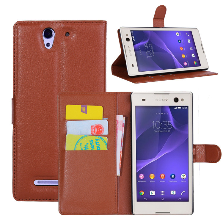 Luxury Wallet Style PU Leather Flip Cover Case Sony Xperia C3 Phone Cover Sony Xperia C3 Case Stand Card Slot