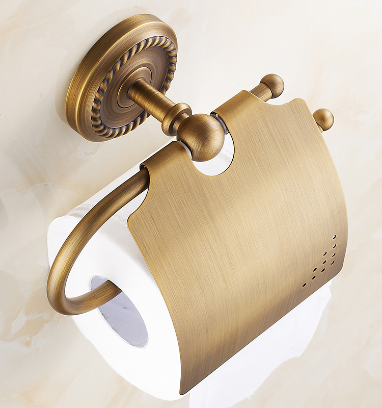 Luxury Brass Paper Box Roll Holder Bathroom Accessories Toilet Paper Holder Creative Wall-Mounted Roll Tissue Holder Bathroom(China (Mainland))