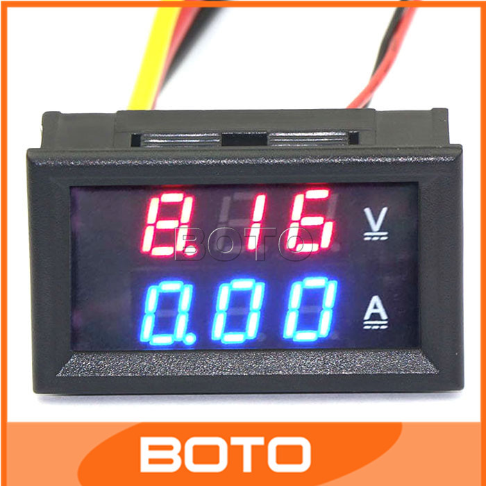 100 PCS/LOT YB27-VA Volt Amp Meter Digital Voltmeter Ammeter LED DC 0-100V/10A Red Blue Car Battery Generator Monitor #200937(China (Mainland))